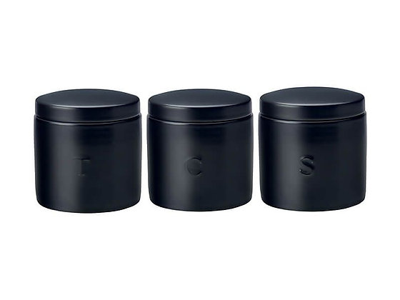 Epicurious Canister 600ML Set Of 3 Black Gift Boxed