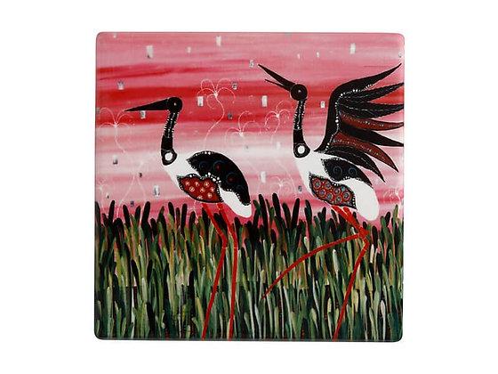 Melanie Hava JBW Ceramic Square Coaster 10cm Jabirus Pink