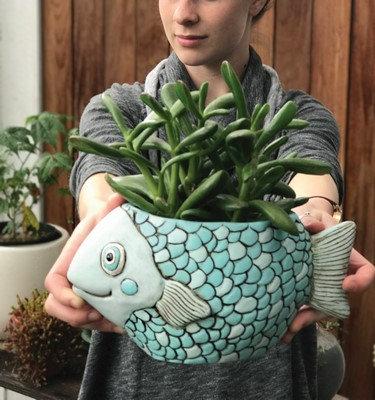 BLUE FISH  Planter