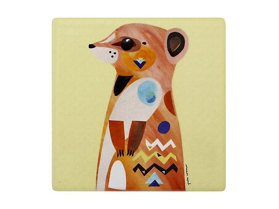 Pete Cromer Wildlife Ceramic Square Coaster 9.5cm Meerkat