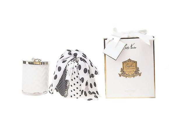 Herringbone Candle White inc scarf & lid with white flower