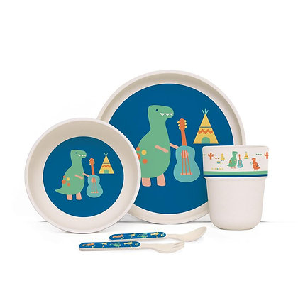 Bamboo Mealtime Set with Cutlery - Dino Rock
