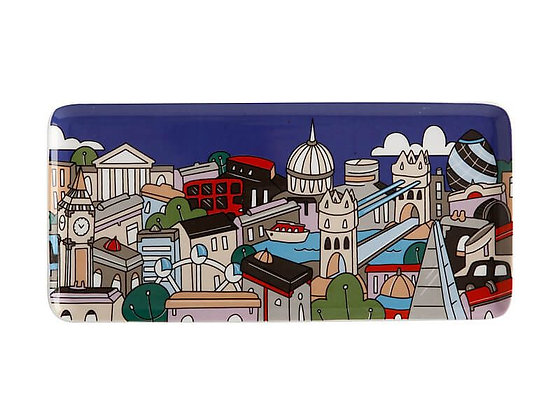 Megan McKean Cities Rectangular Plate 25x12cm London Gift Boxed
