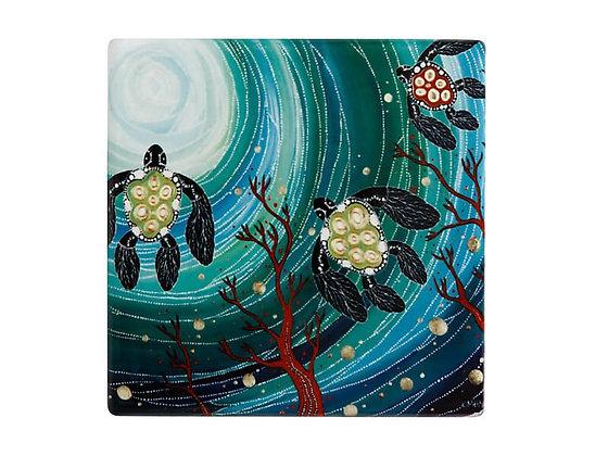 Melanie Hava JBW Ceramic Square Coaster 10cm Turtles