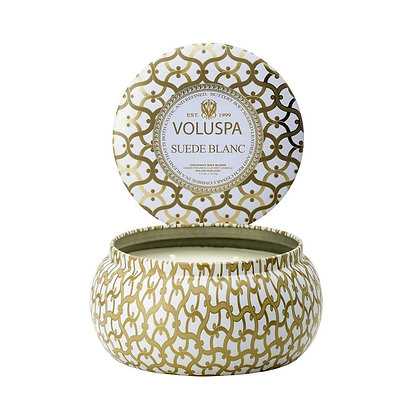 Suede Blanc 2 Wick Candle Tin