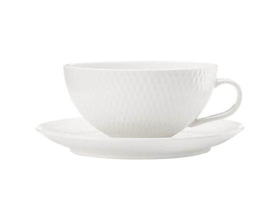 White Basics Diamonds Tea Cup & Saucer Low 250ML