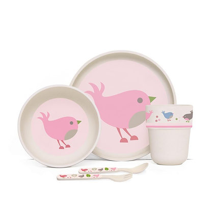 Bamboo Mealtime Set with Cutlery - Chirpy Bird