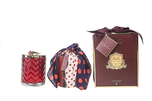 Herringbone Candle Red inc scarf & lid with red rose