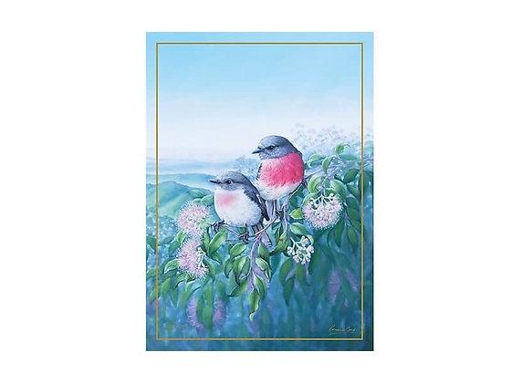 Birds of Australia 10 year Anniversary Tea Towel 50x70cm Rose Robin
