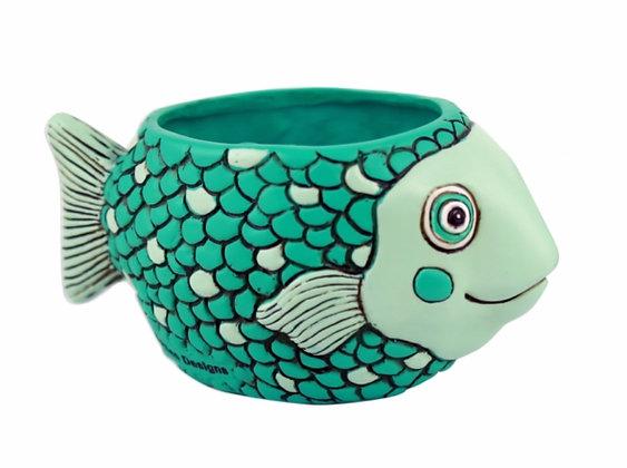 Baby FISH teal Planter