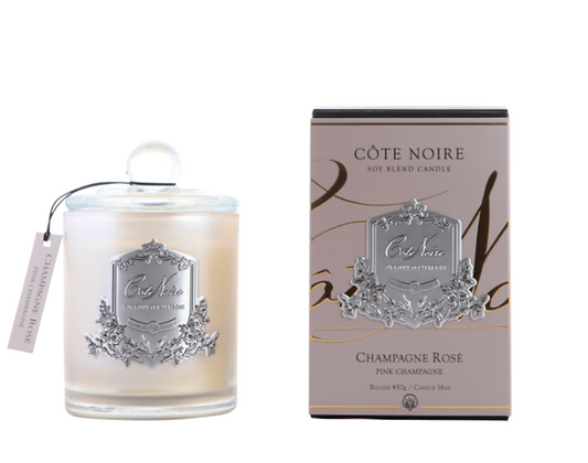 450g Candle Pink Champagne - Silver