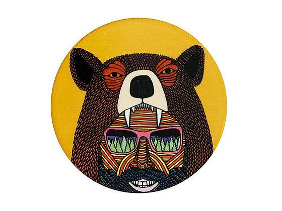 Mulga the Artist Ceramic Round Coaster 10.5cm Bear Man