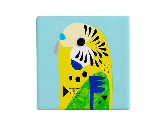 Pete Cromer Ceramic Square Tile Coaster Budgerigar 9.5cm