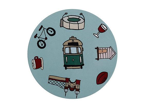 Megan McKean Cities Ceramic Round Coaster 10.5cm Melbourne