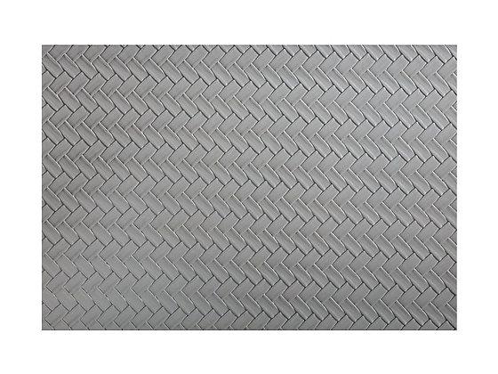 Table Accents Leather Look Placemat 43x30cm Grey Plait