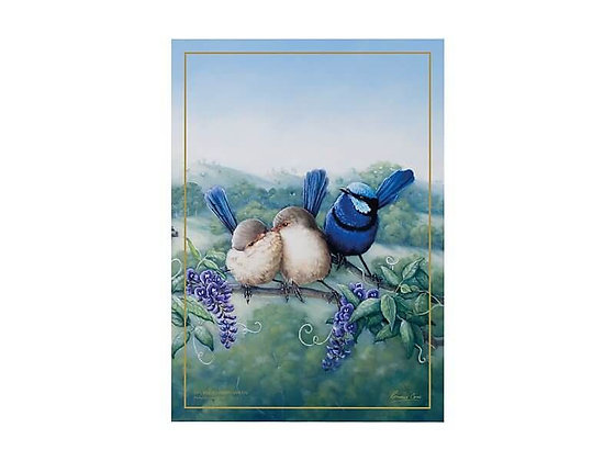 Birds of Australia 10 year Anniversary Tea Towel 50x70cm Splendid Fairy Wren