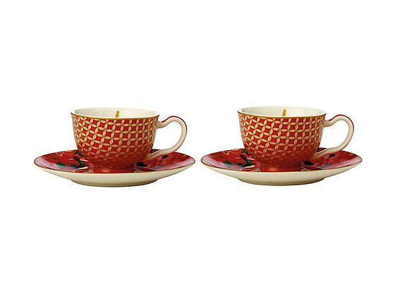 Teas & C's Silk Road Demi Cup & Saucer 85ML Set of 2 Cherry Red Gift Boxed