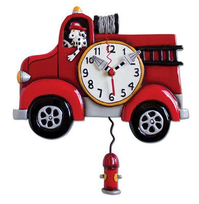 BIG RED Firetruck Clock