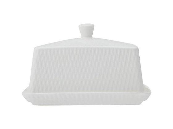 White Basics Diamonds Butter Dish