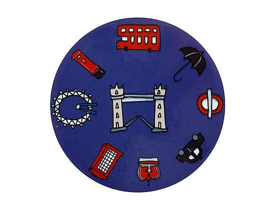 Megan McKean Cities Ceramic Round Coaster 10.5cm London