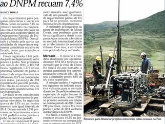 Requerimentos junto ao DNPM recuam 7,4%