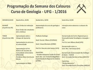 Curso de Geologia da UFG recepciona os calouros 2016