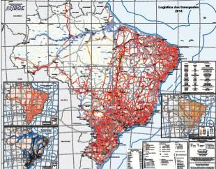Mapa do IBGE apresenta infraestrutura dos transportes no Brasil