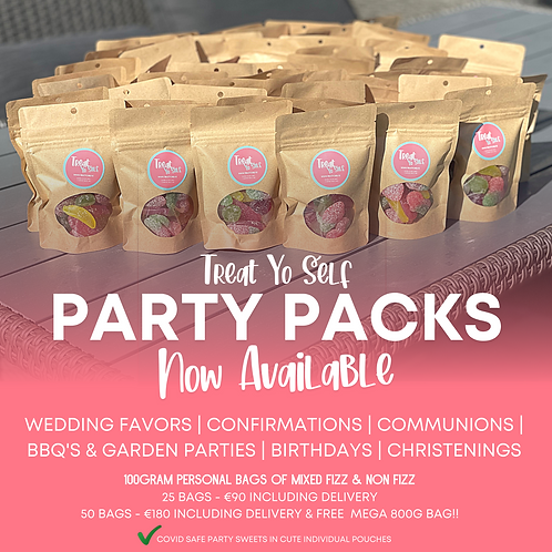 PARTY PACKS!! 50 packs of  Covid Safe Sweets for ANY EVENT! 100g
