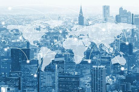 Double exposure global world map on busi