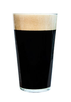 Pint glass of strong, dark beer, isolate