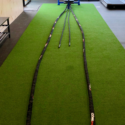 Indoor Turf with Sled and Battle Ropes