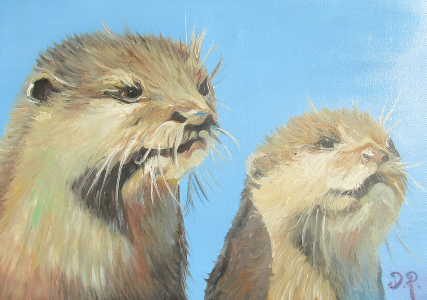 Otters A3 Oil Painting
