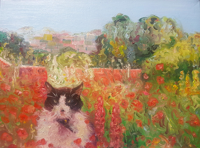 "Cat in garden - 9x12"" canvas board"