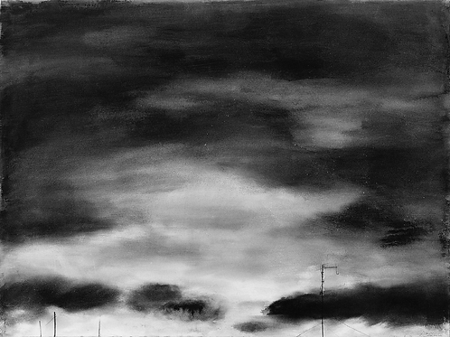 Sky with clouds, three poles and antenna