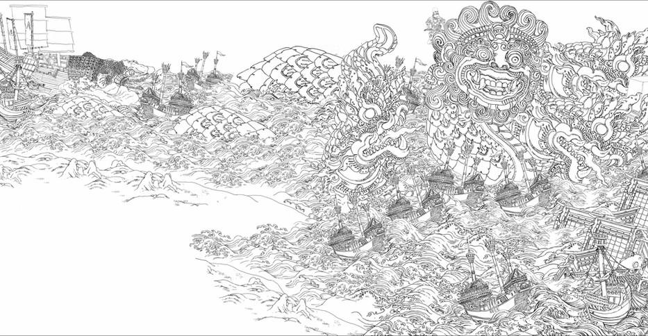 """Final design for """"The Wishful Thinking of Ibrahim Pascha in Navarino"""""""