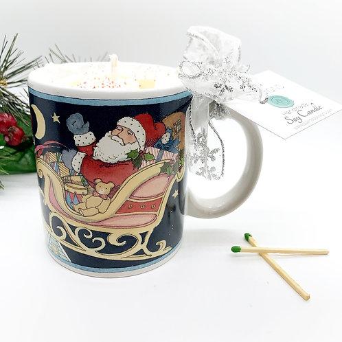 Peppermint Mocha Soy Candle - Santa Sleigh Mug
