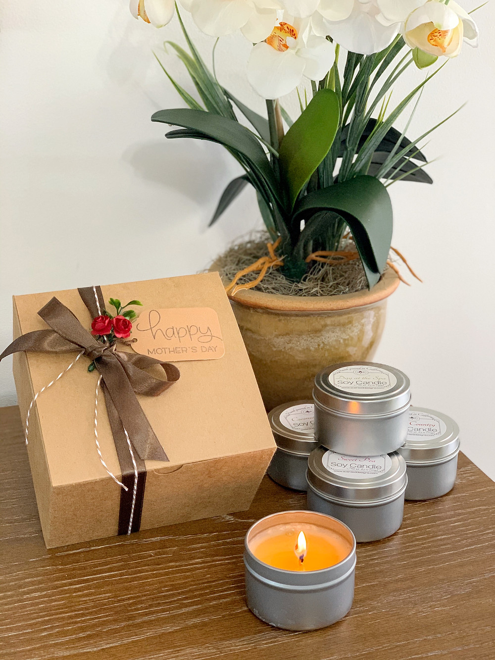 Mothers Day Gift Box with orchid plant and candles