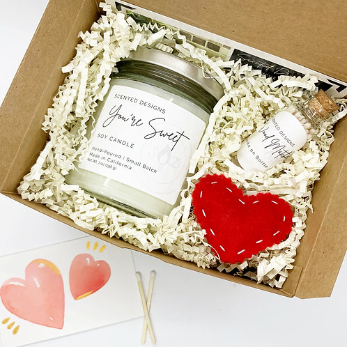 Candle Gift Box - Soy Candle + Matches & Handcrafted Soap