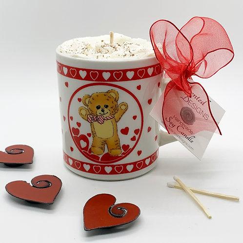 Vanilla Latte Soy Candle - Hearts & Teddy Bear Mug