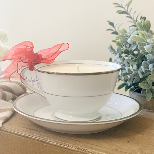 Teacup Candle -White, Silver w/ Saucer
