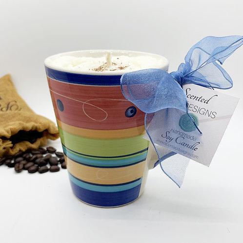 Hazelnut Latte Soy Candle - Large Colorful Mug