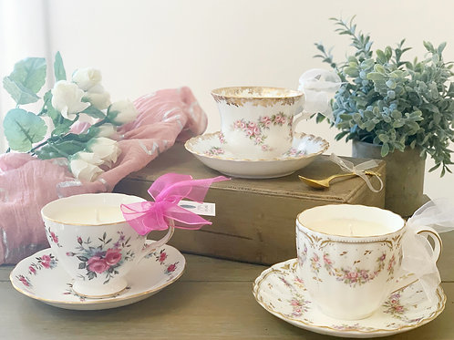 Rose Scented Teacup Candle w/ Saucer - 3 Beautiful Designs Available