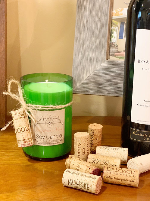 Upcycled Wine Bottle Candle