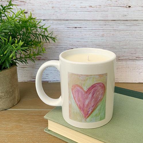 Pink Heart Mug Candle - Artwork by ShaneTarkingtonArt