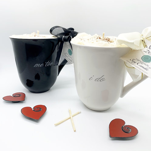 Bride & Groom Mugs - Soy Candle Set (I Do, Me Too)