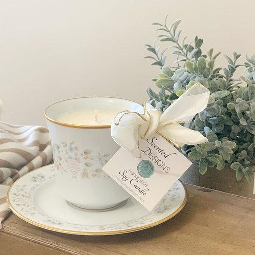 Teacup Candle - Lenox Daisy Basket Pattern w/ Saucer