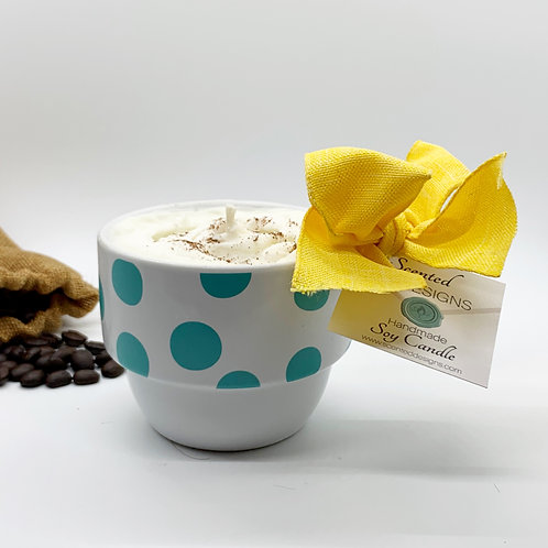 Hazelnut Latte Soy Candle - Teal Polka Dots Mug