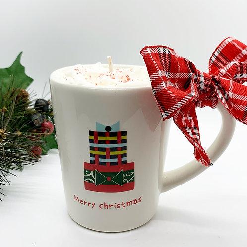 Peppermint Mocha Soy Candle - Merry Christmas Mug