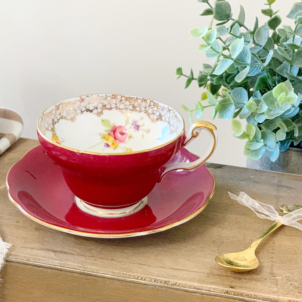 fine bone china teacup red