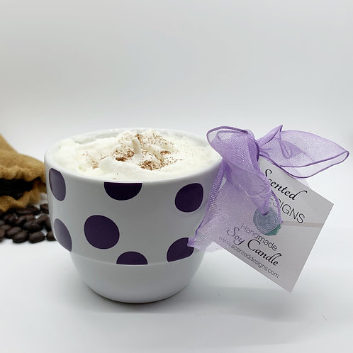Hazelnut Latte Soy Candle - Purple Polka Dots Mug